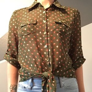 Mid century modern inspired print button down